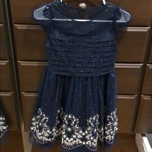 Girls size 10 navy dress with glitter design